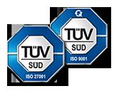 Managed Hosting, Domainservice, Nameservice zertifiziert nach ISO 9001:2008 | ISO27001:2005 TÜV Süd Logo